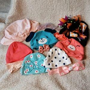 Other - 7 Infant Hats and 5 Headband Bundle